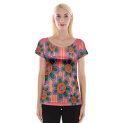 Colorful Floral Dream Women s Cap Sleeve Top by DanaeStudio