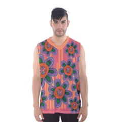 Colorful Floral Dream Men s Basketball Tank Top by DanaeStudio