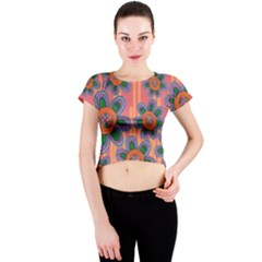 Colorful Floral Dream Crew Neck Crop Top by DanaeStudio