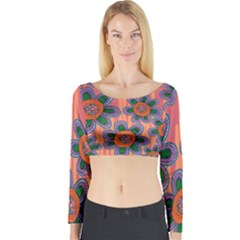 Colorful Floral Dream Long Sleeve Crop Top (Tight Fit)