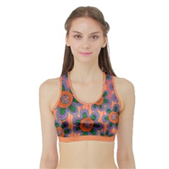 Colorful Floral Dream Sports Bra with Border