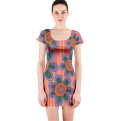 Colorful Floral Dream Short Sleeve Bodycon Dress by DanaeStudio