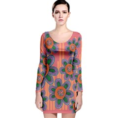 Colorful Floral Dream Long Sleeve Velvet Bodycon Dress by DanaeStudio