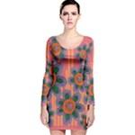 Colorful Floral Dream Long Sleeve Velvet Bodycon Dress