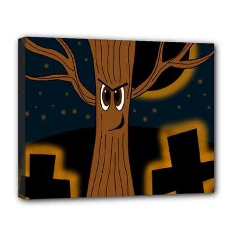 Halloween   Cemetery Evil Tree Canvas 14  X 11  by Valentinaart