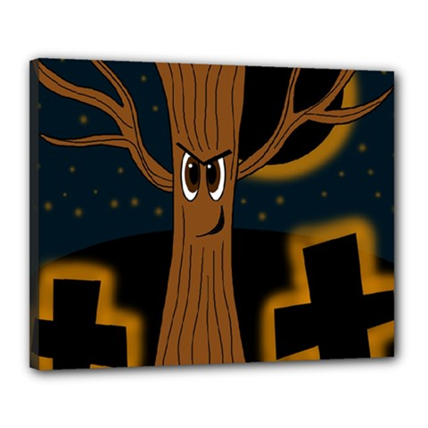 Halloween   Cemetery Evil Tree Canvas 20  X 16  by Valentinaart