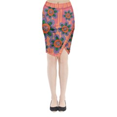 Colorful Floral Dream Midi Wrap Pencil Skirt by DanaeStudio