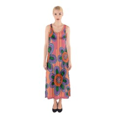 Colorful Floral Dream Sleeveless Maxi Dress