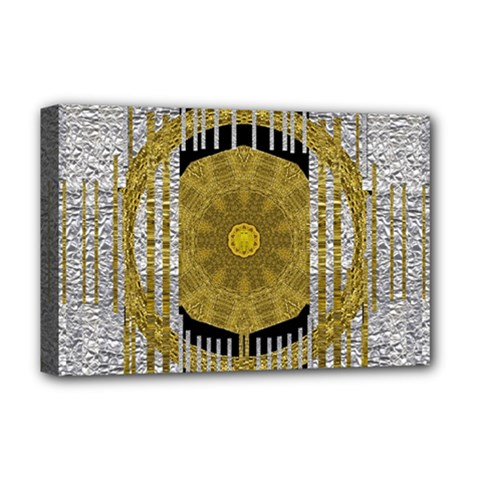 Silver And Gold Is The Way To Luck Deluxe Canvas 18  X 12   by pepitasart