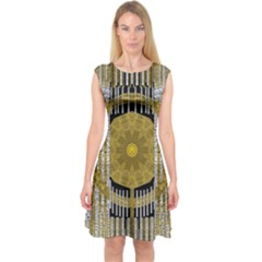 Silver And Gold Is The Way To Luck Capsleeve Midi Dress by pepitasart