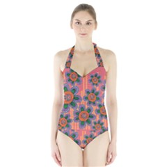 Colorful Floral Dream Halter Swimsuit