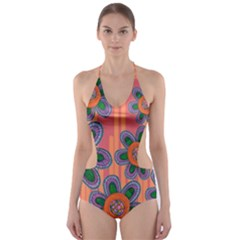Colorful Floral Dream Cut-Out One Piece Swimsuit