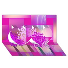 Abstract Forest Twin Hearts 3D Greeting Card (8x4) by Zeze