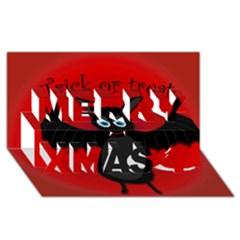 Halloween bat Merry Xmas 3D Greeting Card (8x4) by Valentinaart