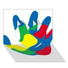 Creativity Painted Hand Copy Heart 3d Greeting Card (7x5)
