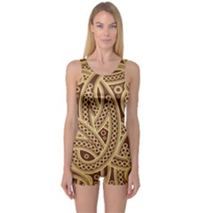 European Fine Pattern One Piece Boyleg Swimsuit by AnjaniArt