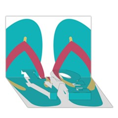 Flip Flop Slippers Copy Love Bottom 3d Greeting Card (7x5) by AnjaniArt