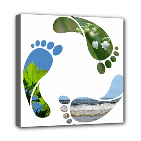 Footprint Recycle Sign Mini Canvas 8  X 8  by AnjaniArt