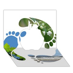 Footprint Recycle Sign Apple 3d Greeting Card (7x5) by AnjaniArt