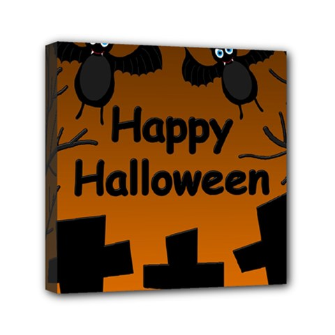 Happy Halloween   Bats On The Cemetery Mini Canvas 6  X 6  by Valentinaart