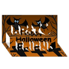 Happy Halloween   Bats On The Cemetery Best Friends 3d Greeting Card (8x4) by Valentinaart