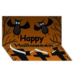 Happy Halloween   Bats On The Cemetery Twin Heart Bottom 3d Greeting Card (8x4) by Valentinaart
