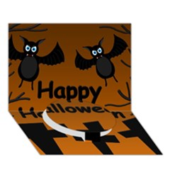 Happy Halloween   Bats On The Cemetery Circle Bottom 3d Greeting Card (7x5) by Valentinaart