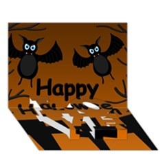 Happy Halloween   Bats On The Cemetery Love Bottom 3d Greeting Card (7x5) by Valentinaart