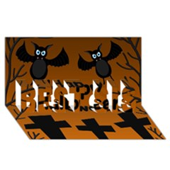 Happy Halloween   Bats On The Cemetery Best Sis 3d Greeting Card (8x4) by Valentinaart