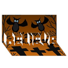 Happy Halloween   Bats On The Cemetery Believe 3d Greeting Card (8x4) by Valentinaart