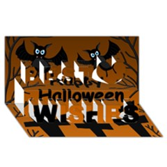 Happy Halloween   Bats On The Cemetery Best Wish 3d Greeting Card (8x4) by Valentinaart