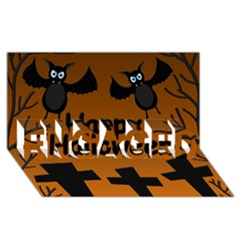 Happy Halloween   Bats On The Cemetery Engaged 3d Greeting Card (8x4) by Valentinaart
