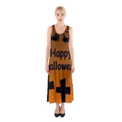 Happy Halloween   Bats On The Cemetery Sleeveless Maxi Dress by Valentinaart