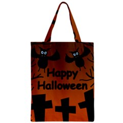 Happy Halloween   Bats On The Cemetery Zipper Classic Tote Bag by Valentinaart