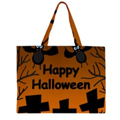 Happy Halloween   Bats On The Cemetery Zipper Large Tote Bag by Valentinaart