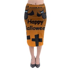 Happy Halloween   Bats On The Cemetery Midi Pencil Skirt by Valentinaart