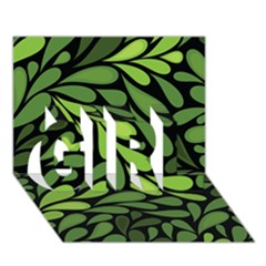 Free Green Nature Leaves Seamless Girl 3d Greeting Card (7x5) by AnjaniArt