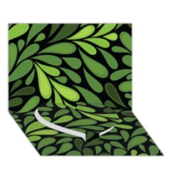 Free Green Nature Leaves Seamless Heart Bottom 3d Greeting Card (7x5) by AnjaniArt