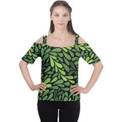 Free Green Nature Leaves Seamless Women s Cutout Shoulder Tee by AnjaniArt