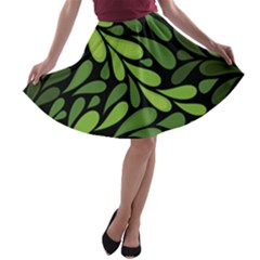 Free Green Nature Leaves Seamless A Line Skater Skirt by AnjaniArt