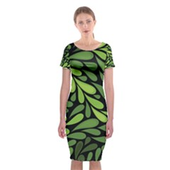 Free Green Nature Leaves Seamless Classic Short Sleeve Midi Dress by AnjaniArt