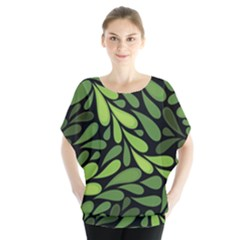 Free Green Nature Leaves Seamless Blouse by AnjaniArt