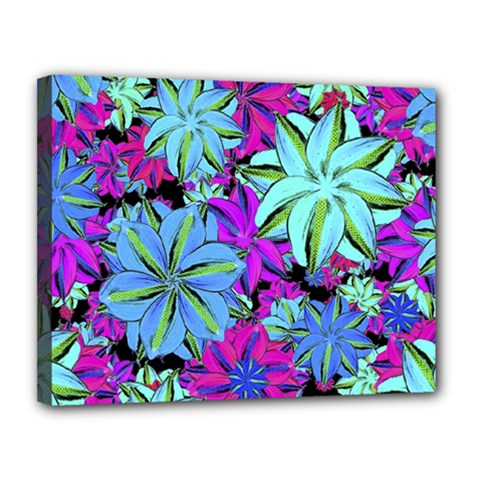 Vibrant Floral Collage Print Canvas 14  X 11  by dflcprints