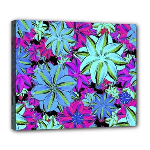 Vibrant Floral Collage Print Deluxe Canvas 24  X 20   by dflcprints