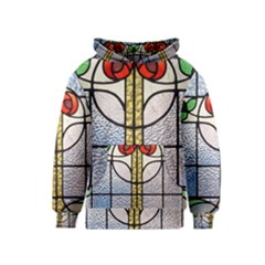 Antique Stained Glass Kids  Pullover Hoodie by Zeze