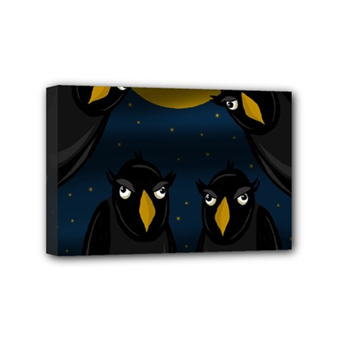 Halloween   Black Crow Flock Mini Canvas 6  X 4  by Valentinaart