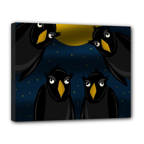 Halloween   Black Crow Flock Canvas 14  X 11  by Valentinaart