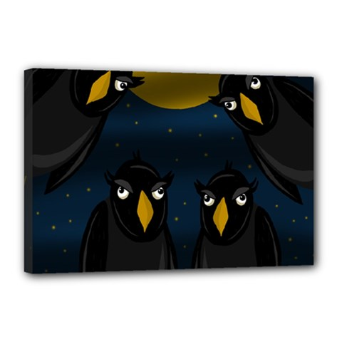 Halloween   Black Crow Flock Canvas 18  X 12  by Valentinaart