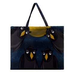 Halloween   Black Crow Flock Zipper Large Tote Bag by Valentinaart