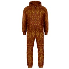 Art Abstract Brown Pattern Hooded Jumpsuit (Men)  by Zeze
